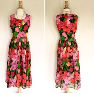 Vintage Caron floral midi dress